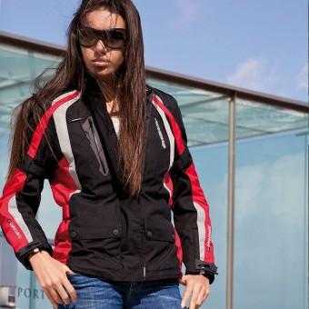 Chaqueta de Moto para Mujer Impermeable y Transpirable con Membrana Zliner Arrow Lady roja