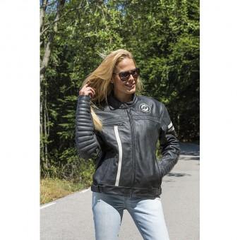 Chaqueta de Moto de Cuero Vintage para Mujer Moka Racer Lady