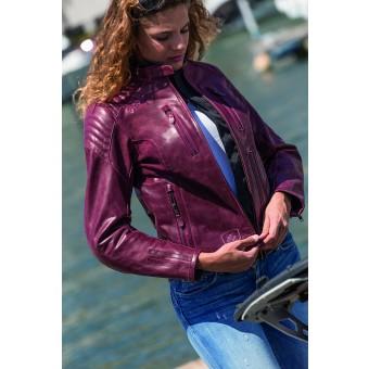 Giacca da Moto per la Donna di Pelle Vintage Garibaldi Bullrider Oxblood
